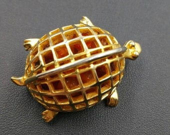 Vintage Signed DeNicola Gold Turtle Pin, Turtle Brooch With Tumbled Rocks Filled Shell, Animal Brooches, Turtle Lovers