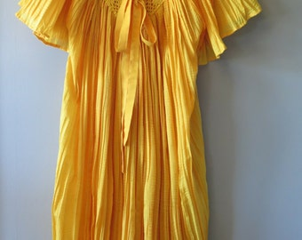 Vintage Canary Yellow Boho Hippie Gauze Maxidress Cover-up With Flutter Sleeve, Free Size