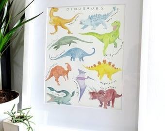 Dinosaurs - 8 x 10 Giclee Print