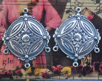 FOUR Ornate Brass Earring Components with Three Hoops, Sterling Silver Finish