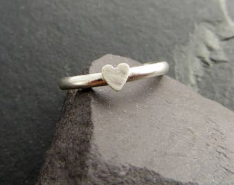 Sterling Silver Heart Ring, Tiny Heart Ring, Silver Stacking Ring, Small Silver Heart, UK Sellers Only, All Sizes Made To Order.