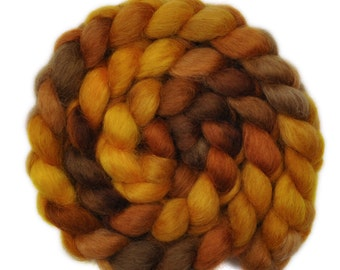 Hand painted spinning fiber - Wensleydale wool combed top roving - 4.1 ounces - Golden Opportunity