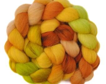 Hand dyed roving - Texel Wool / Nylon 80/20% spinning fiber - 4.0 ounces - Sweet Honey 2