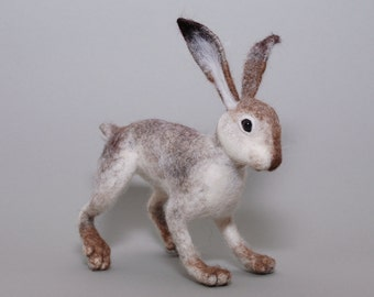 Hare - Needle Felted Hare - Hare Sculpture - Hare Ornament - Hare Artwork - Hare Collectable Sculpture - Ready to Ship
