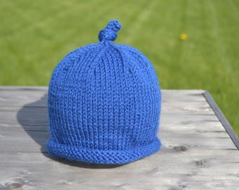 Simple Roll Brim Blue Baby Hat with Knot on Top 6-12 mo.