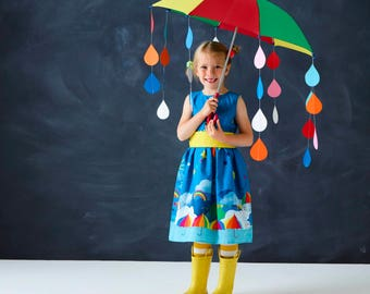 Rainbow Party dress for girls in festival unicorn umbrella print