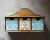 ON SALE Keepsake drawer jewelry storage, organizer, shelf, mint, beige, natural distressed wood, homewares, rustic home