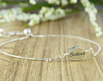 Believe Message/Word Adjustable Sterling Silver Interchangeable Charm/Link Bolo Bracelet- Charm, Bracelet Chain, or Both