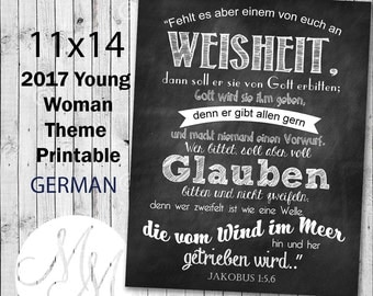 11x14 2017 Mutual Theme Poster. If any of you lack wisdom. GERMAN. Digital. Young Woman Printable