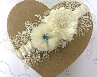 Something Blue ~Veil Garter ~ Ivory Wedding Garter - Silk, Veil and Lace with Roses
