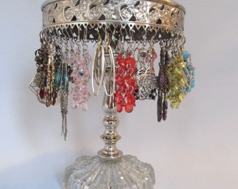 Revolving Earring Holder on Vintage Base | Holds 25 Pairs | Store Display | Gifts for Her