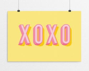 XOXO Typography - a design print // 8.5x11 or 13x19 // 5 color options // Scandinavian modern nursery