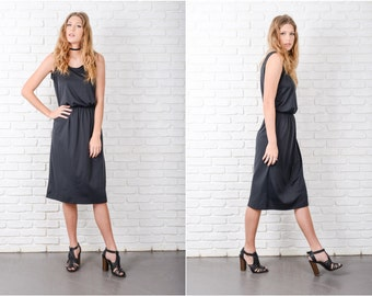 Vintage 80s Black Boho Dress Sleeveless Knee length scoop neckline M 8751