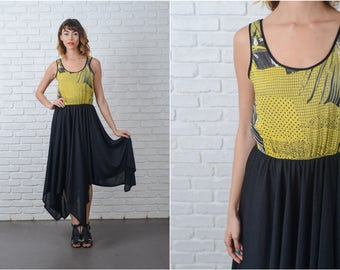 Vintage 80s Yellow + Black Dress Color Block Polka Dot Striped XS 9127