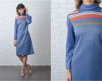 Vintage 70s Blue Mod Dress Red Striped A Line Ribbed Medium M 9157