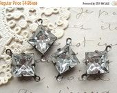 SALE 10mm Square Vintage German Crystal Connectors Prong Set 2-Loop Brass Ox Findings (4)