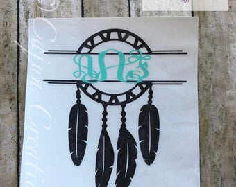 Monogram decal, dreamcatcher decal, personalized car decal, Dream Catcher, yeti decal, laptop decal, Native American decal, Feather decal