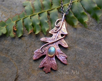 RESERVED Copper Oak Leaf Necklace with Labradorite- Artisan Handcrafted With a Real Leaf - Woodland - Forest - Elven- Fairy -Botanical