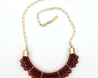 Brick colors jasper Necklace by Pardes