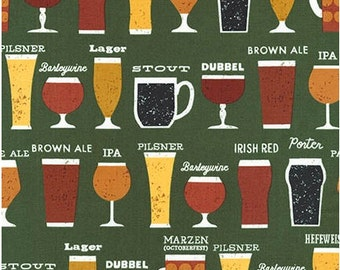 Beer Glasses on Green from Robert Kaufman's Cheers Collection by Mo Mullan