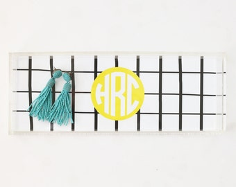 Monogram Acrylic Tray Personalized Lucite Tray Black and White Stripe Jewelry Tray Acrylic Coffee Table Tray Bar Cart Tray Bridesmaid Gifts