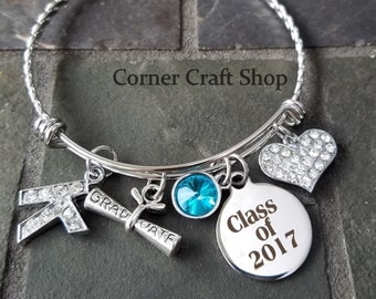 CLASS OF 2017 Graduation Stainless Steel Charm Personalized Bangle Bracelet Rhinestone Initial Birthstone heart charm Diploma