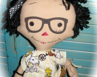 Raggedy Ann Annie Doll with Glasses-Charlie Brown/Snoopy Dress OOAK Handmade