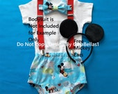 luau outfit Mickey Mouse cake smash hula hawaiian beach Birthday pool party surfer aqua diaper cover bow tie suspenders 9 12 18 24 toddler