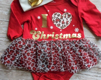 Christmas outfit Santa Baby girl tutu I heart Christmas red and gold onesie headband polka dot cheetah red white 9 12 18 toddler SALE