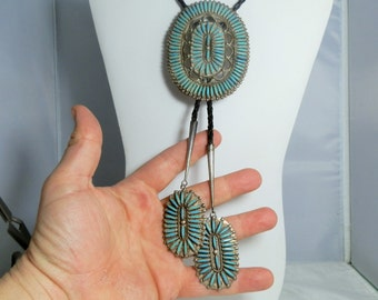 Vintage Bolo Tie Sterling Silver True Needle Petit Point Signed Zuni Jason Yazzie Masterpiece Native American Jewelry DanPickedMinerals