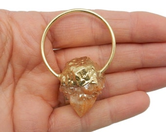 Orange Cactus Quartz with Electroplated 24k Gold Cap and Fancy Bail - Beautiful Pendant - ONE of a KIND (DB1-45)
