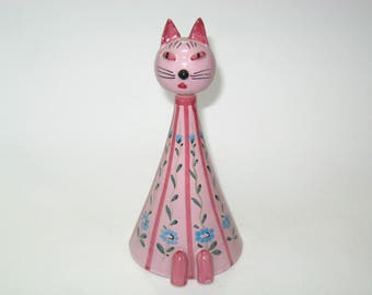 Mid Century Modern Pottery Pink Cat Coin Bank Italy - Raymor Era Hand Painted Majolica Kitty Figurine