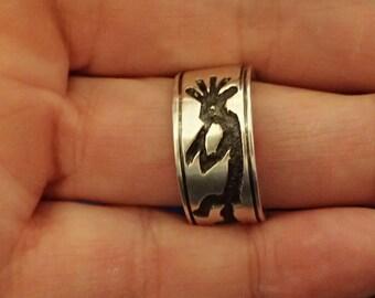 Hopi Kokopelle Flute Player Sterling Ring size 9