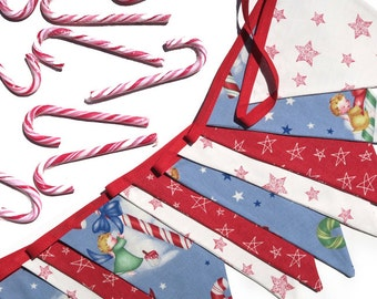 Christmas Bunting - RETRO style Angels with Candy Cane / Stars . Cute! - Xmas Party Handmade Banner, Decoration . RETRO STYLE