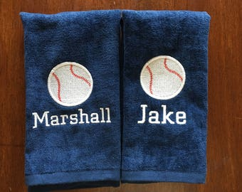 Personalized baseball towel or softball towel, team gift, school sports, with or without hook, one name and number