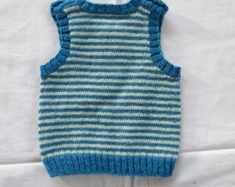 Hand Knit Vest Baby Boy 3M to 6M Superwash Wool Handmade