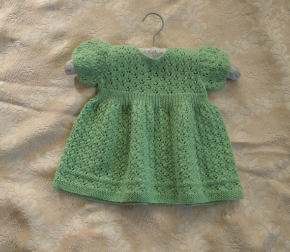 Knitting Pattern PDF Baby Dress Toddler Girl Eyelet Lace