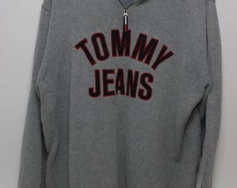 Tommy Jeans Knit Pull Over Quarter Zip Size Large