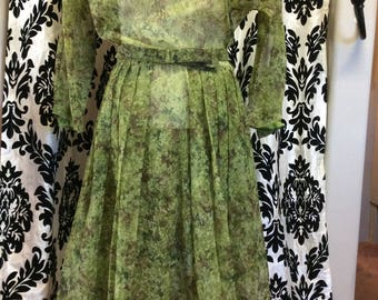 Glorious Green Floral Camo Dress with Belt
