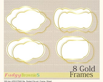 ON SALE Digital Clip Art Frames,Gold lines Frame clip art, digital scrapbooking frames gold A-05 ,  Instant download