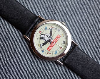 Monopoly Game Watch with new black leather band