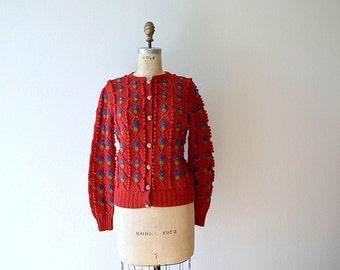 Vintage 1940s style sweater . vintage 1980s Lanz cardigan