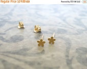 ON SALE - Gold flower stud earrings , Tiny flower studs , Brushed matt gold flower post earrings , Handmade by Adi Yesod