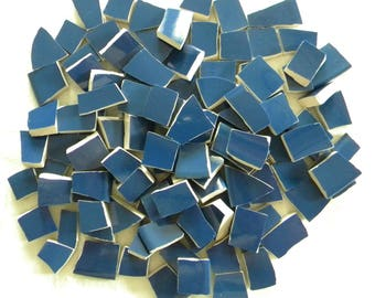 Mosaic Tiles - Solid NAVY BLUE - Recycled Plates - 100 Tiles