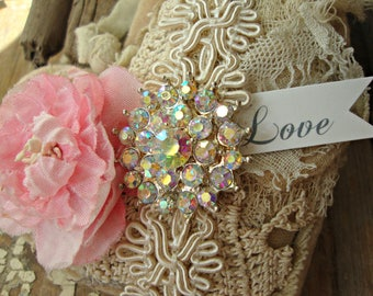 Vintage Lace Tattered Heart with Pink Vintage Millinery Flower and Iridescent Rhinestone Accent