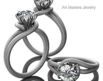 Classic 14K White Gold 1.0 Ct Diamond Solitaire Ring R559-14KWGSD