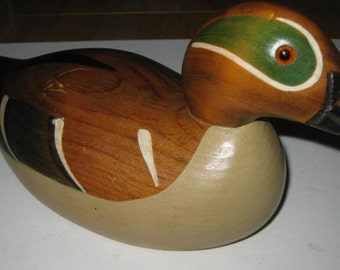 Green Wing Drake Artist Mason Wooden Duck Decoy collectible