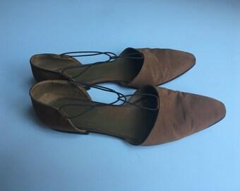 womens  Italian Giorgio Armani Ballet Flat bronze grosgrain flat Shoes 9.5 40
