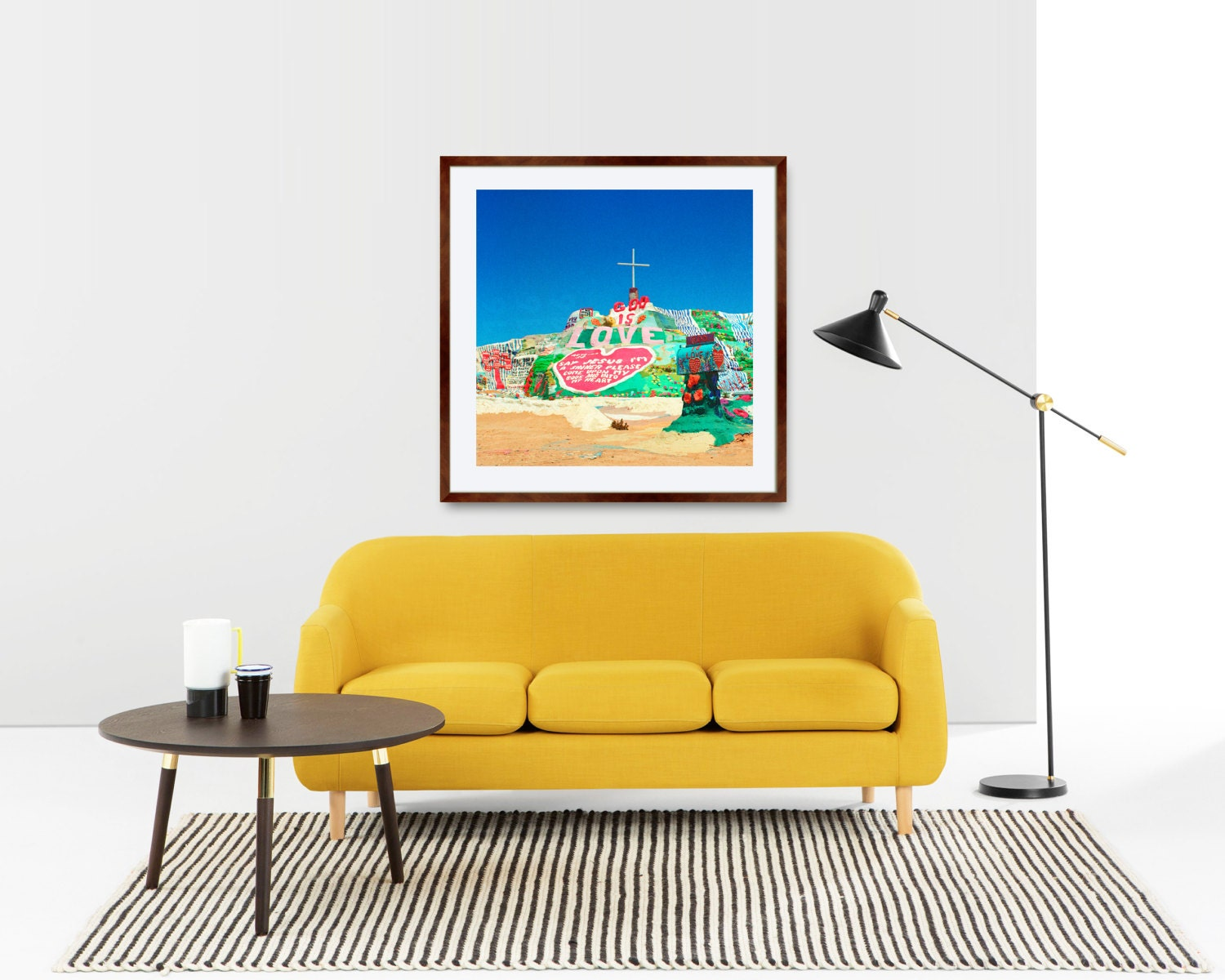 Print Only Salvation Mountain Folk Art God Love Cross