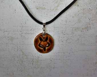 Fox Stoneware pendant in brown celedon glaze (with silk necklace) handmade by EkCreations with 1950's mold